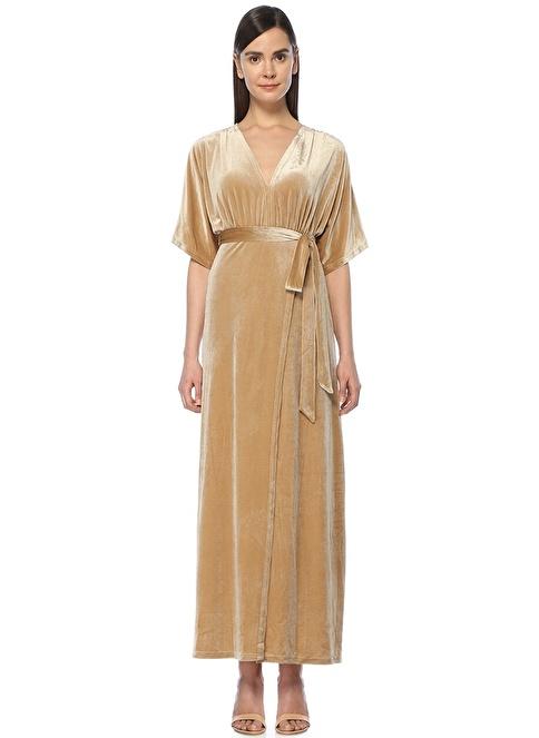 Wyldr V Yaka Uzun Kadife Elbise Gümüş